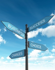 Signpost to business success, choice, changes.